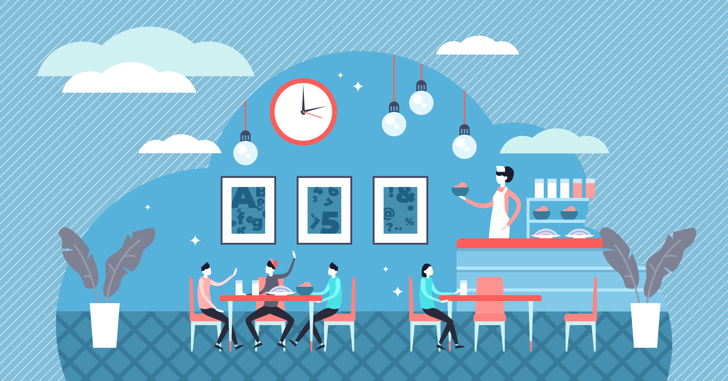 School cafe vector illustration. Flat tiny pupil dinner food person concept